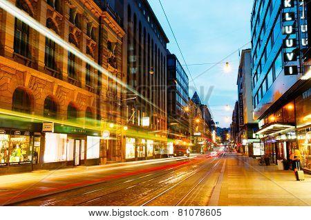 Night view of Aleksanterinkatu street in Helsinki