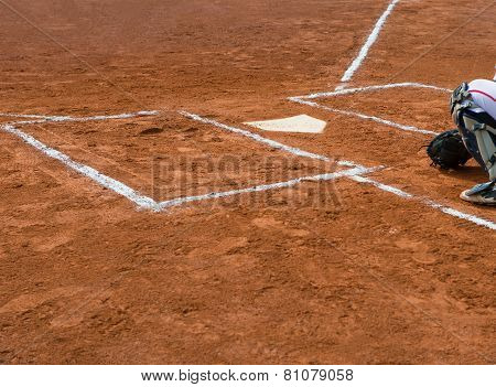 Catcher On Catcher's Box In A Baseball Game