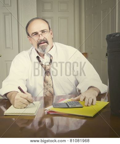 Businessman With A Breathing Disability.