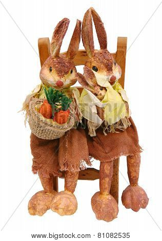 Rabbits Papier Sitting On Chair Straw