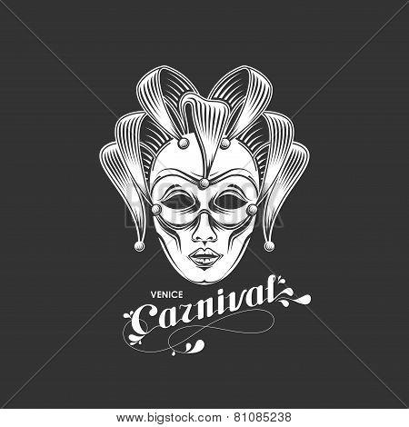 vector illustration of engraving venetian carnival mask emblem and ornate lettering logo. Venice