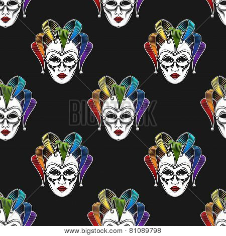 vector background with engraving rainbow venetian carnival mask or jester emblem. seamless pattern