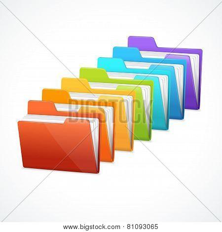 Vector many rainbow folders on the white
