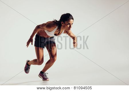 Energetic Young Woman Running