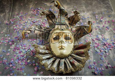 Al cassical venetian carnival mask on wood poster