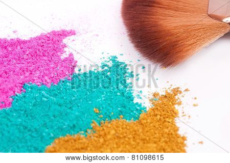 Powdery Eyeshadow Makeup And Brush