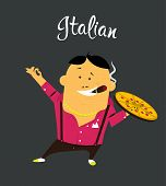 Italian man cartoon character, citizen of the Italy with cigar and pizza in colorful shirt with moustache poster