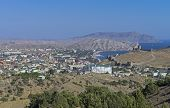 A small resort town in Crimea. View from the mountainside. poster