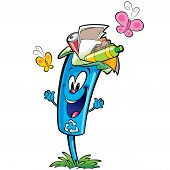 Happy cartoon smiling recycle garbage bin character . Reuse and ecycling plastic glass and paper garbage concept poster