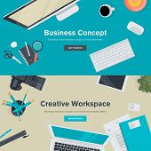 Flat Style Modern Design Concepts of Creative Office Workspace. Icons Collection of Business Work Flow Items and Elements, Office Things, Computers, Objects and Equipment for Workplace Design. poster