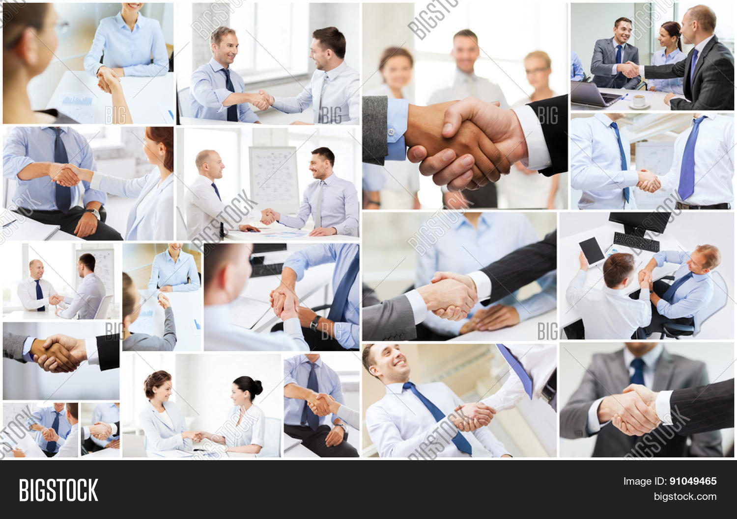 business deal and office concept collage with many different people shaking hands in office