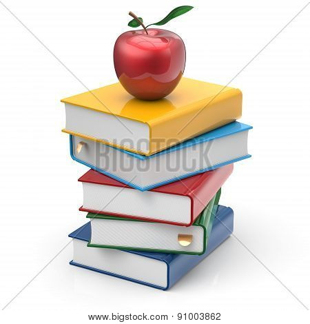 Apple And Books Stack Colorful Textbooks Reading Learn Icon