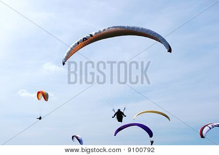Paraglider skydiving in the air