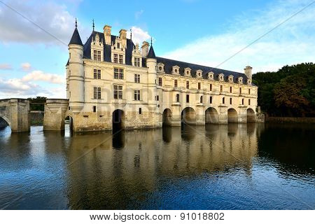 Chateau de Chenonceau with reflections, Loire, France