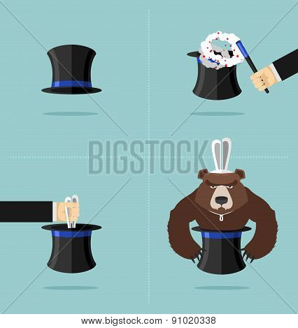 Sequence Of A Magic Trick. Instead Of Rabbit Out Of  Hat Was A Bear. Top Hat Magician With Magic Wan
