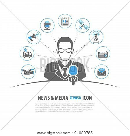 Media and News Vector Concept with Icon set in two color such as Journalist Microphone Newspaper Camera Satellite Megaphone may be used for Flyer Poster Web Site poster