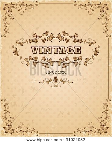 Ornate retro vintage poster