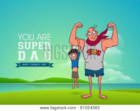 Cute little kid swinging to hold his Super Dad arm. Happy Fathers Day celebrations concept.