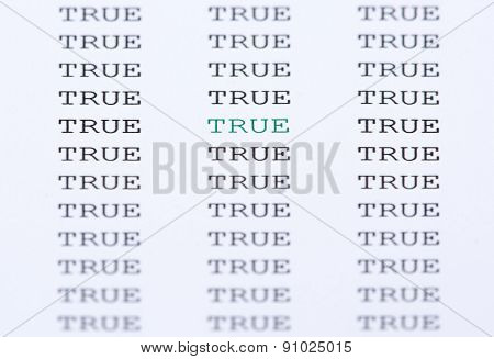 The Word True Surrounded By Similar Text
