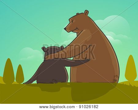 Father bear hugging to his child on nature background for Happy Fathers Day celebrations.