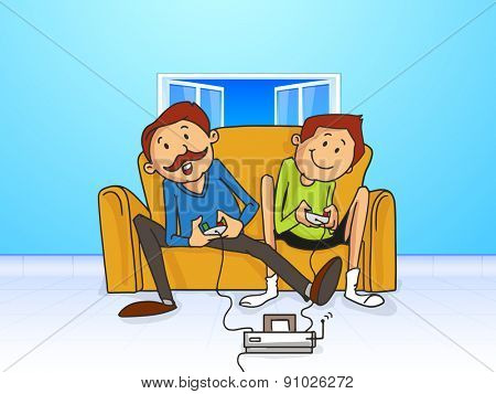 Father and Son playing video games together, concept for Happy Father's Day celebrations.