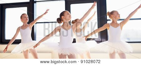 Young Ballerinas Practicing A Choreographed Dance