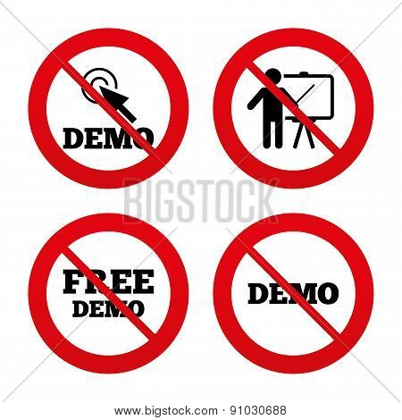 No, Ban or Stop signs. Demo with cursor icon. Presentation billboard sign. Man standing with pointer symbol. Prohibition forbidden red symbols. Vector poster