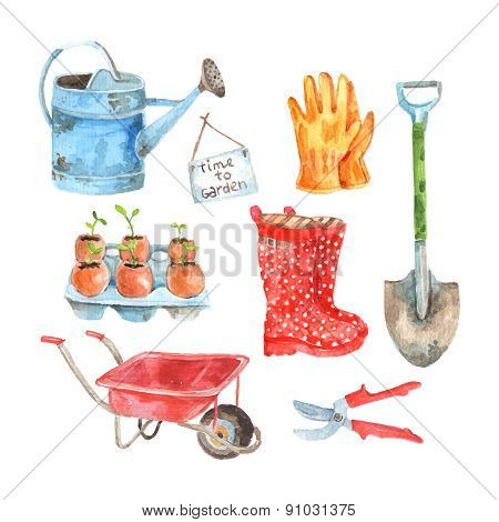 Gardening watercolor pictograms collection set