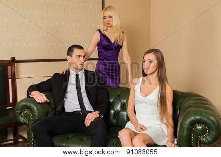 The relationship between a man and a woman - a love triangle, jealousy, betrayal, love