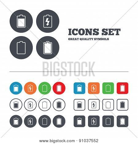 Battery charging icons. Electricity signs symbols. Charge levels: full, empty. Web buttons set. Circles and squares templates. Vector poster