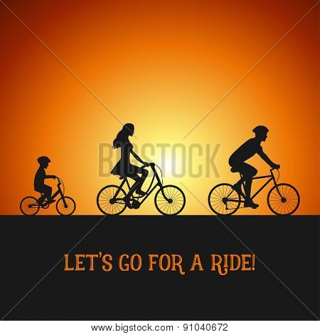 Family on the bicycle trip. Silhouettes on the bicycles. Sunset background. poster