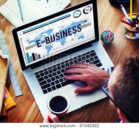 E-Business Online Networking Technology Marketing Commerce Concept poster