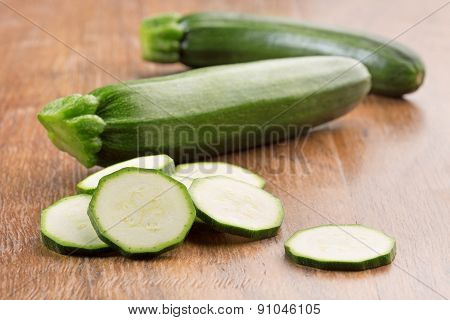 zucchini on wooden table