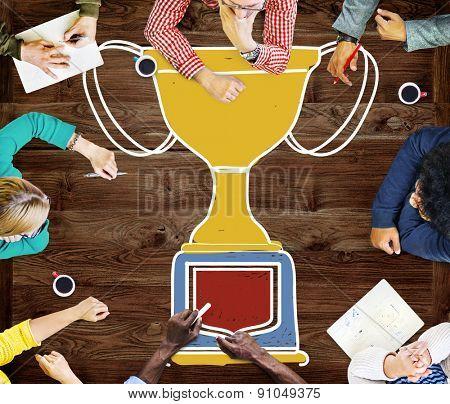 Motivation Trophy Success Winning Reward Prize Concept poster