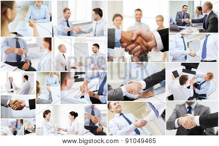 business deal and office concept - collage with many different people shaking hands in office