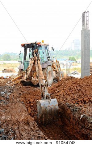 Excavator Machine used for earthwork at the construction site