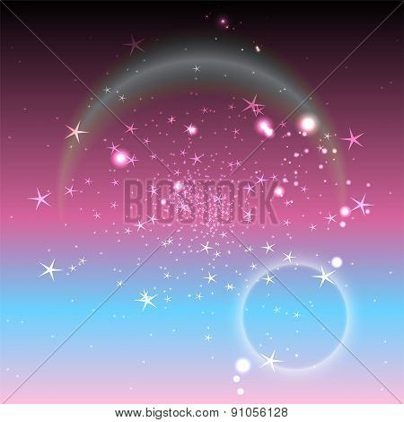 Purple dotted light circle background with multi star