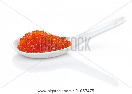Red caviar. Isolated on white background