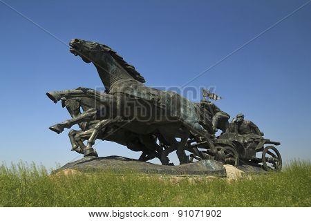"famous soviet monument to the Revolution ""Legendary Tachanka"" in Kahovka Ukraine poster"