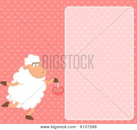 Cartoon funny sheep on a pink background for a design poster