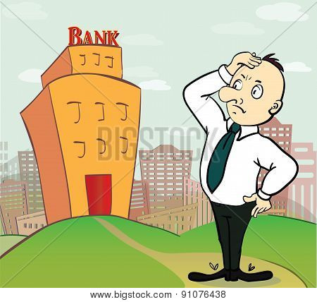 illustration of thinking business man going to bank building