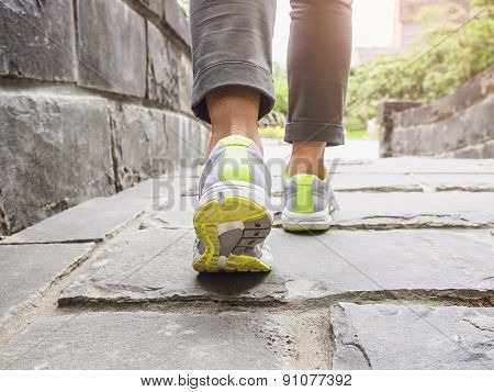 Woman Walking on Trail Outdoor