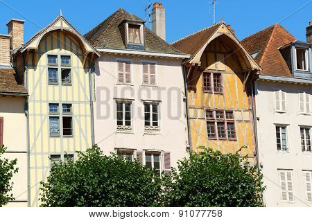 Some buildings and medieval half-timbered houses in a row in the old town of Troyes Aube Champagne-Ardenne France.