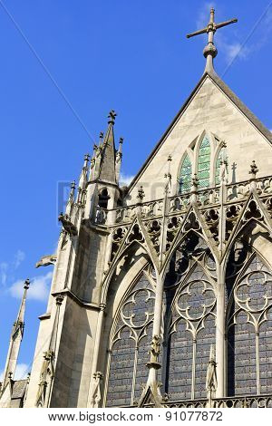 Detail of the Gothic Saint-Urbain Basilica built in the thirteenth century by Jacques Pantaleon in Troyes Aube Champagne-Ardenne France.