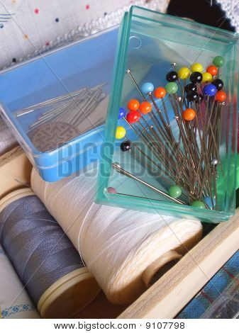 Box of pins in a Box of seam