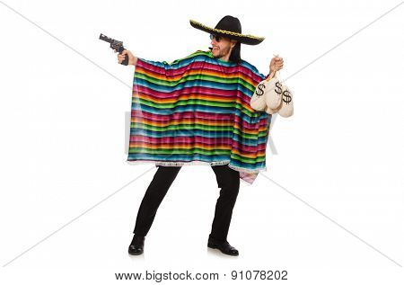 Mexican holding gun and money bag isolated on white