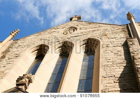 Ascension of our Lord church is a Catholic Parish in Gothic style at Westmount a suburb of Montreal Quebec Canada. Detail of the facade.