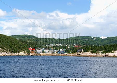 The small town of Tadoussac by Saint Lawrence River in Quebec Canada
