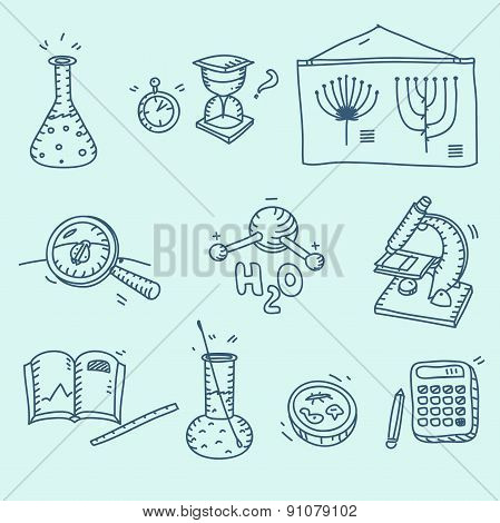 Science icons set school laboratory chemistry biology experiment investigation and observation hand drawn doodle sketch style. poster
