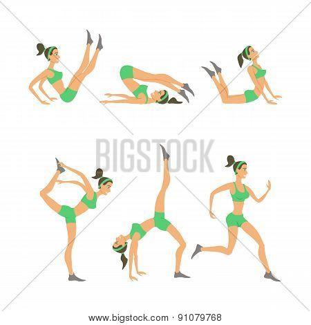 Vector Yoga Illustration. Women Studio. Poster. Sketch Girl Lifestyle.